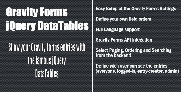 Gravity Forms jQuery Datatable | WordPress plugins | Web