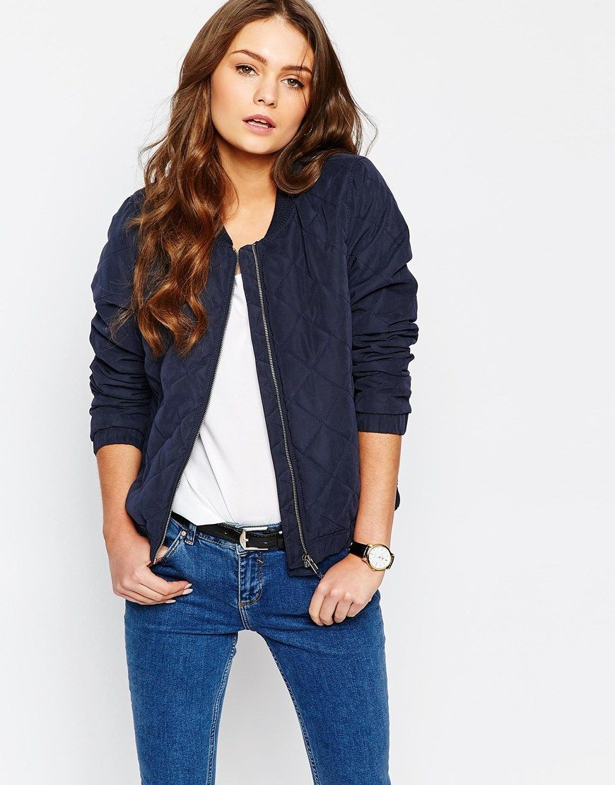 Image 1 of J.D.Y Quilted Bomber Jacket | Casual outfits ... : navy quilted bomber jacket - Adamdwight.com