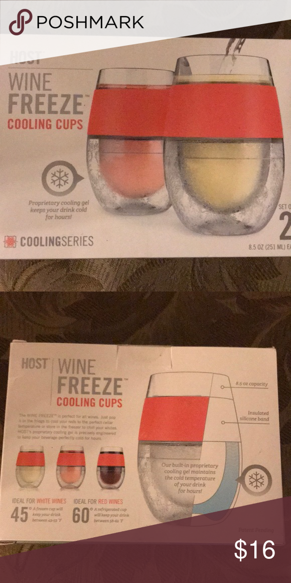 New In Box Host Wine Freeze Cooling Cups Wine Frozen Cup