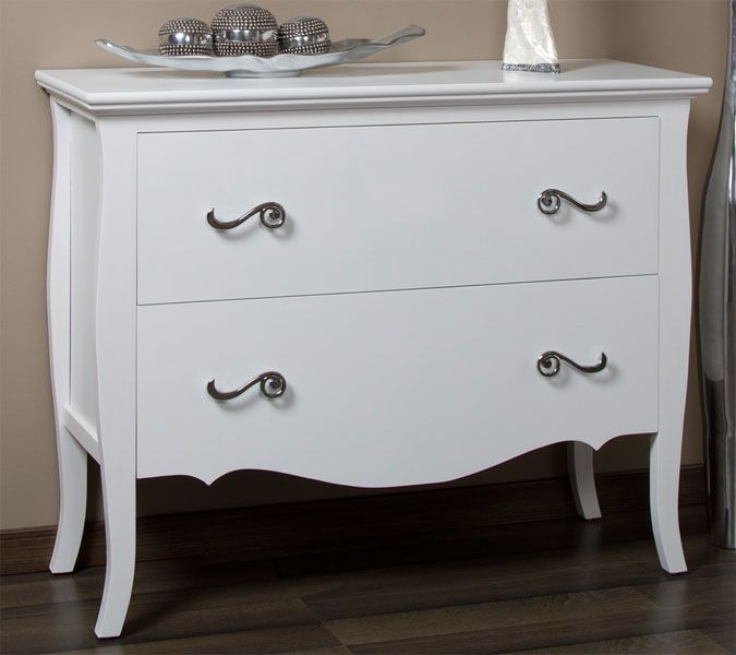 Comoda 2 cajones design muebles acabados en blanco for Muebles romanticos blancos