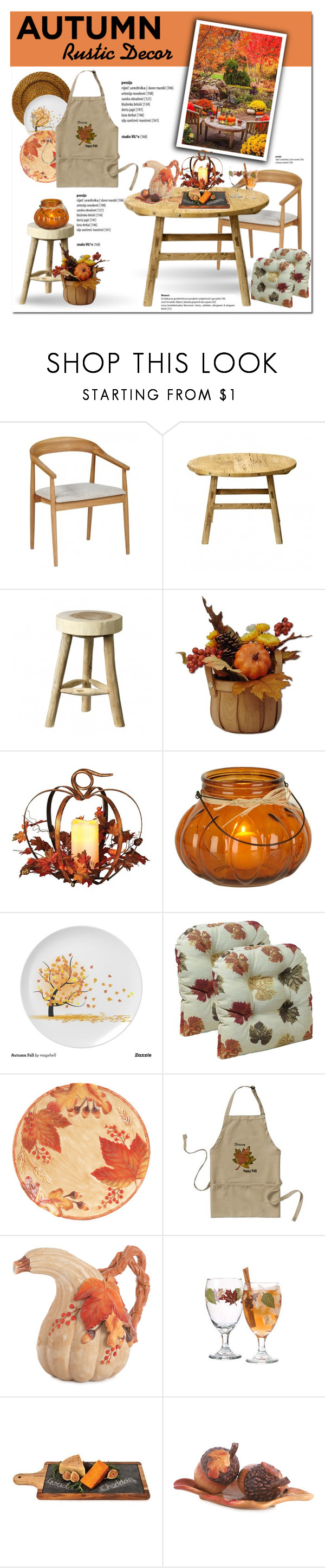 """""""Rustic Fall Decor"""" by cruzeirodotejo ❤ liked on Polyvore featuring interior, interiors, interior design, home, home decor, interior decorating, Bloomingville, Harvest, Fitz and Floyd and Twine"""