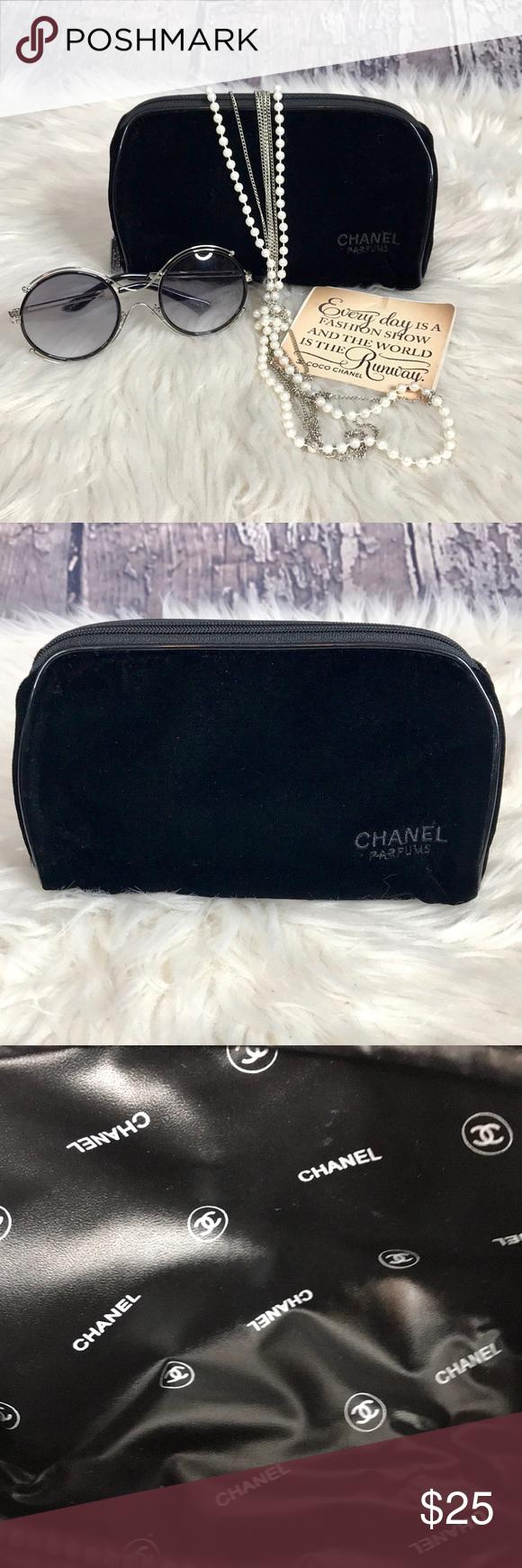 Chanel Velvet Black Make Up Bag Round with Zipper New