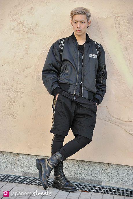 fc859df3 Ryu Gouda, Shibuya, Tokyo AUTUMN 2012, STUDENT, 20 Blouson – Led Zeppelin T- Shirt – Boy London Shorts – Versace for H Boots – N/A