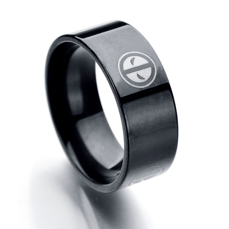 New Arrival 8mm Finger Jewelry Stainless Steel Deadpool Ring 3