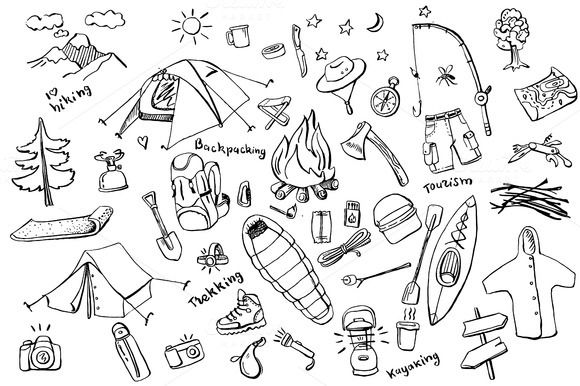 Camping Doodles Collection By Graphicsauthor Graphics Pinterest