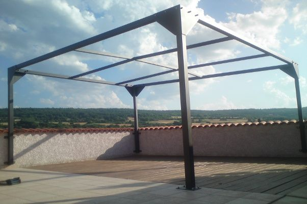 pergola acier structure 80 x 80 thermolaqu pergolas pinterest pergola acier pergola et. Black Bedroom Furniture Sets. Home Design Ideas