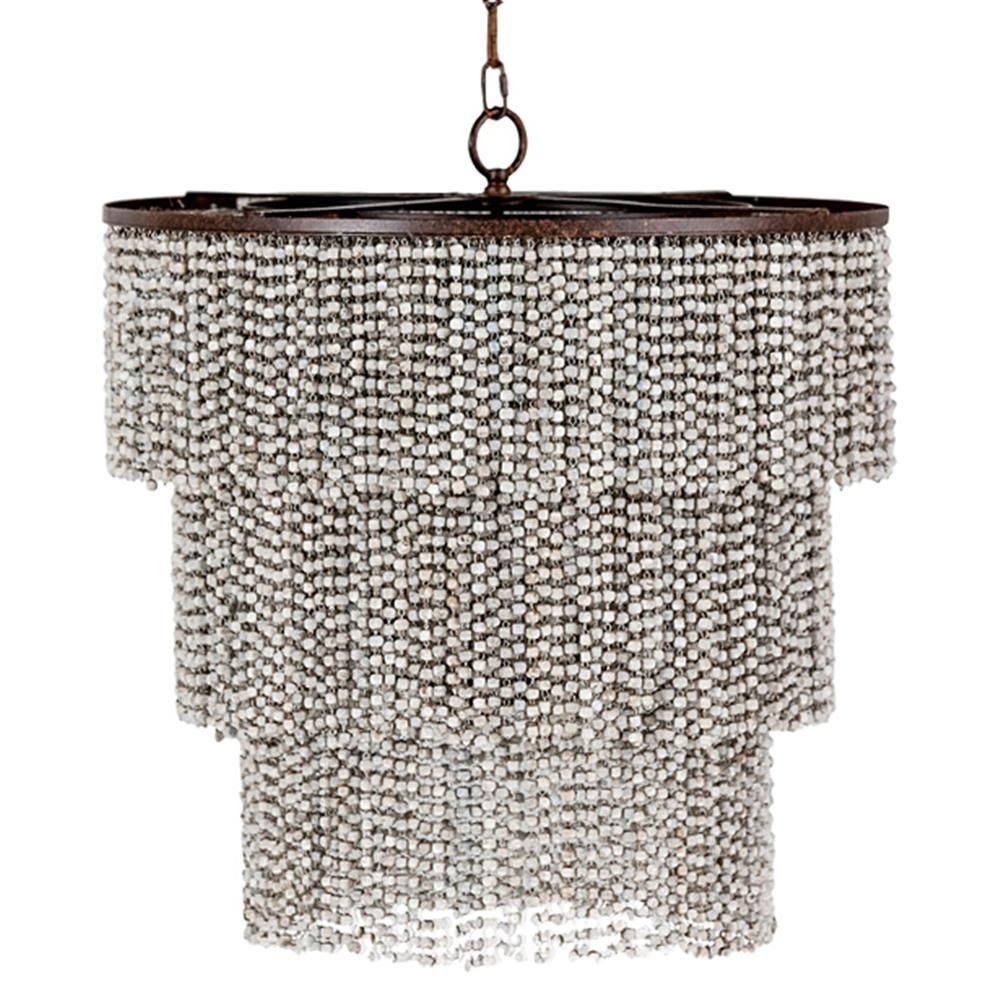 Vince coastal beach wood bead 3 tier chandelier kathy kuo home