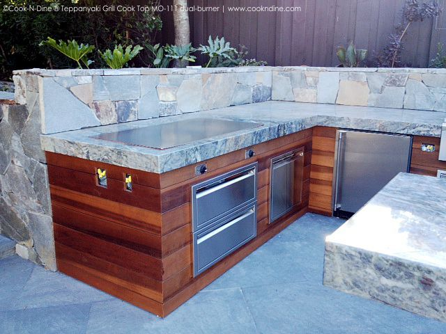 Outdoor Kitchen Teppanyaki Grill Electric Built In Tepan