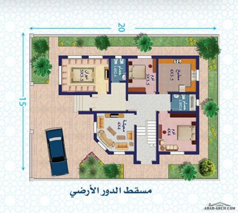 نموذج فلة دور واحــد مساحة الأرض 300 متر مربع مساحة البناء 134 متر مربع Classic House Design Architectural House Plans Luxury House Plans