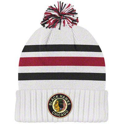 2c4713af78c Chicago Blackhawks White CCM Classics Cuffed Pom Knit Hat