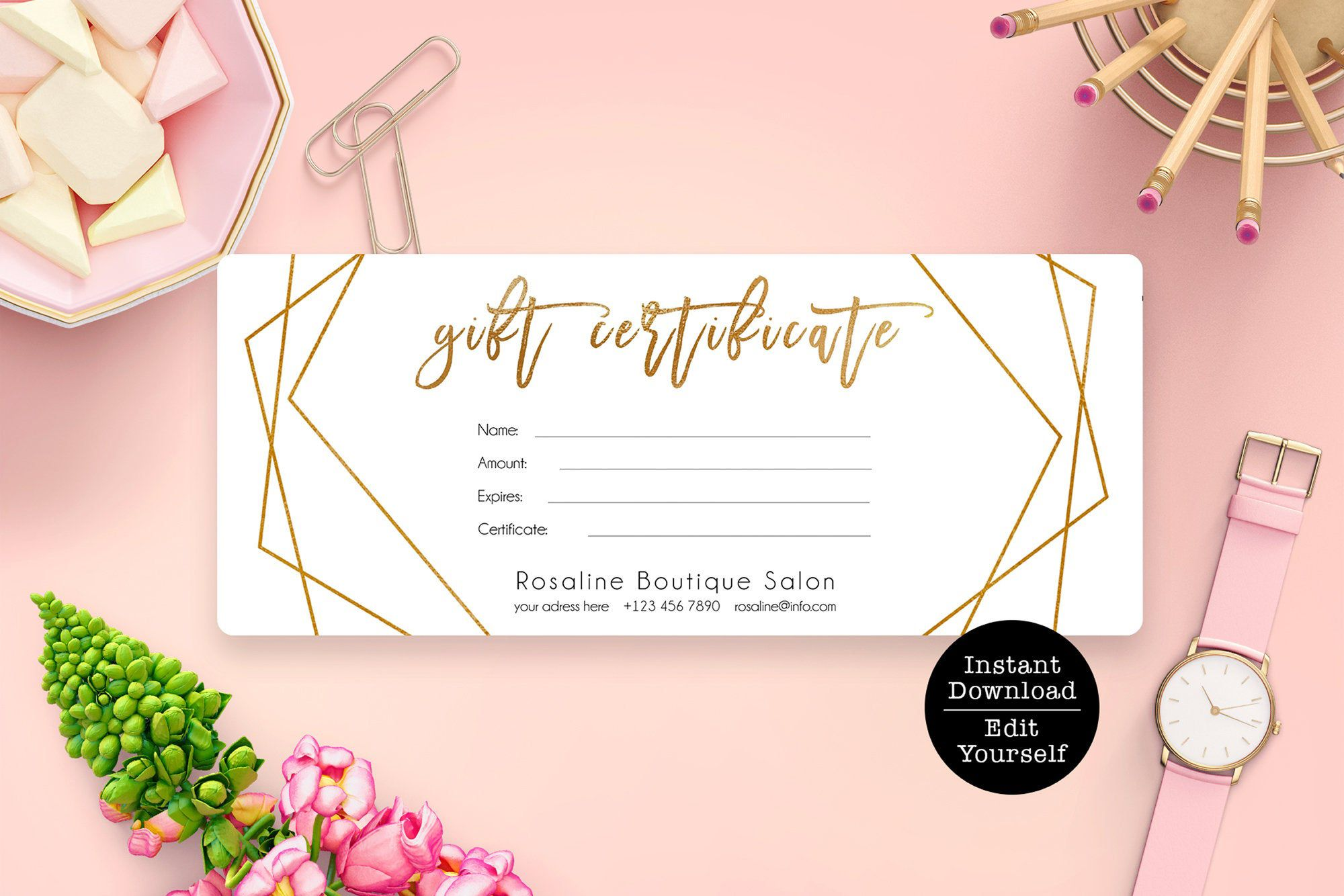 Editable Gift Certificate Template Geometric Gold Gift Card Etsy In 2021 Gift Card Template Gift Certificate Template Gift Card Design Free online gift certificate template