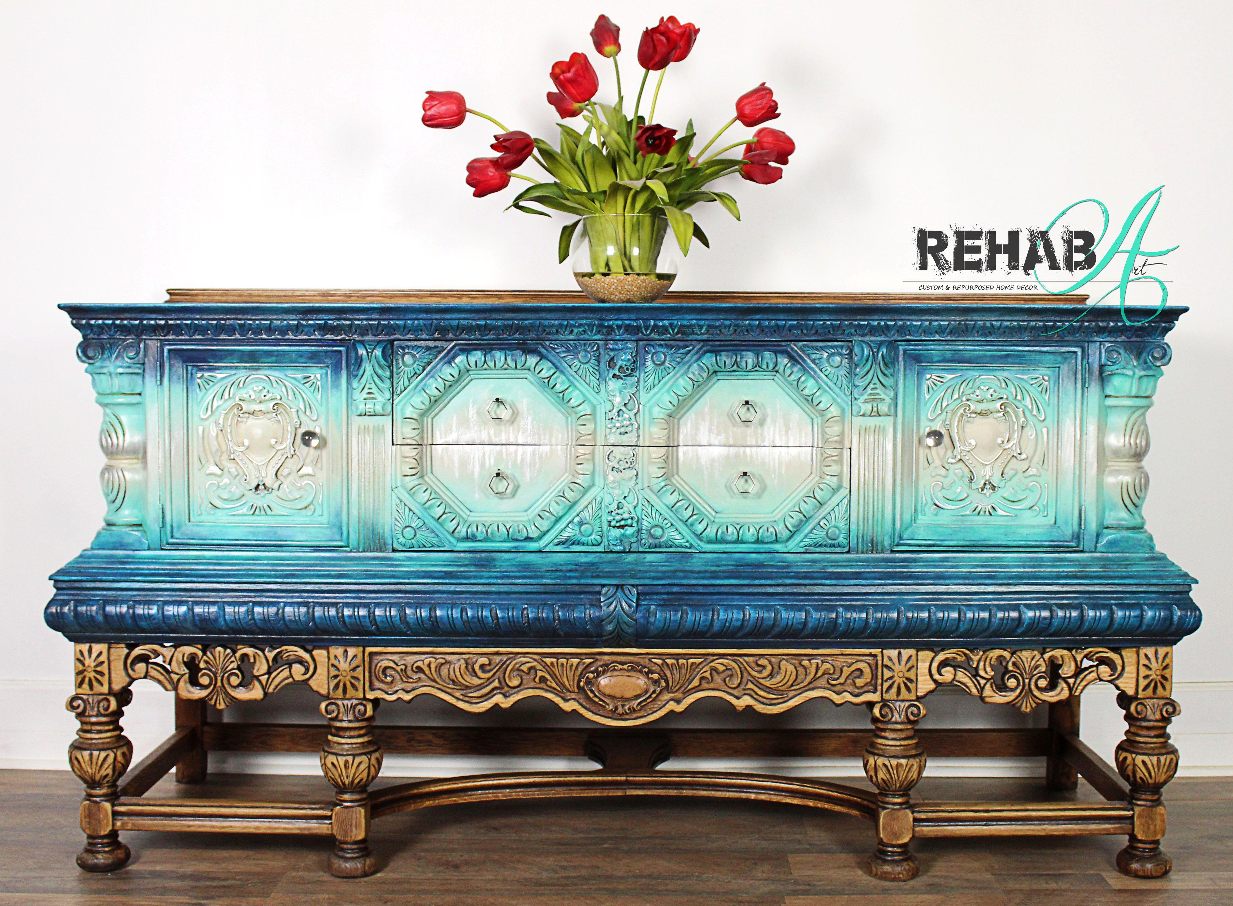Available Now!!! #jacobeansideboard #credenza #aquadresser #paintedfurniture #furnitureartist #artonfurniture #oneofakindfurniture #bluepaintedfurniture #jacobeanfurniture #jacobeanbuffet
