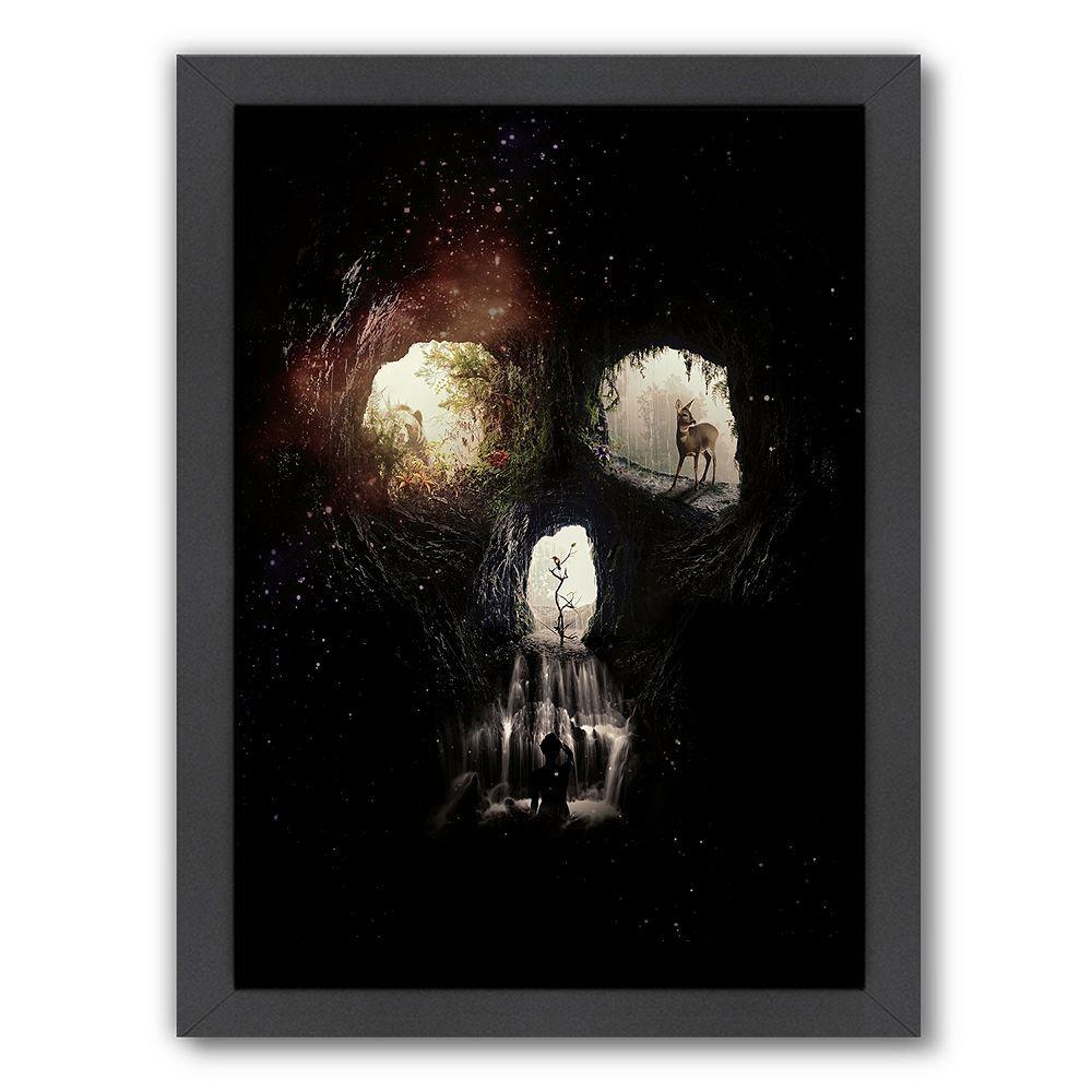 Americanflat cave framed wall art multicolor skull