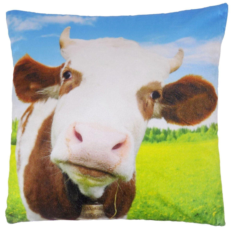 FUNKY COW FARM ANIMAL BLUE BROWN VELVET THICK SOFT CUSHION