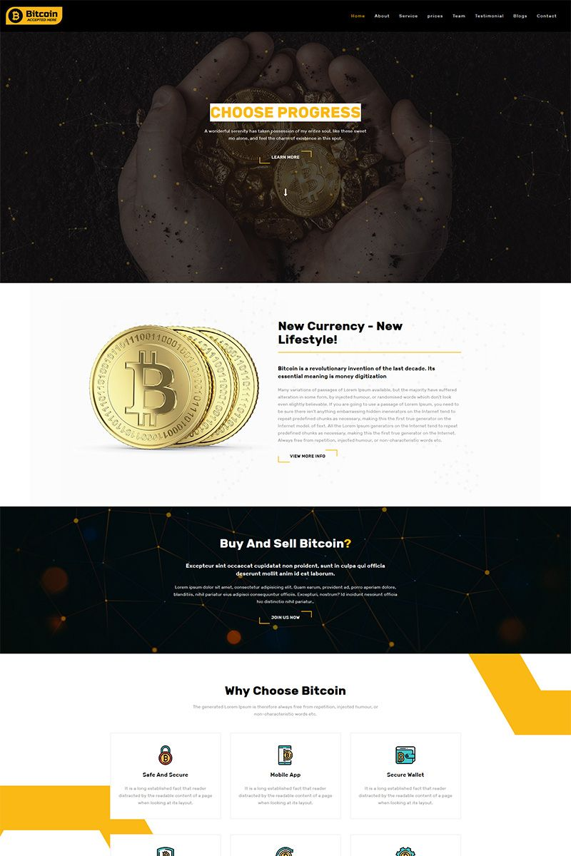 Bitcoin Crypto Currency Responsive Bootsrap Template nel