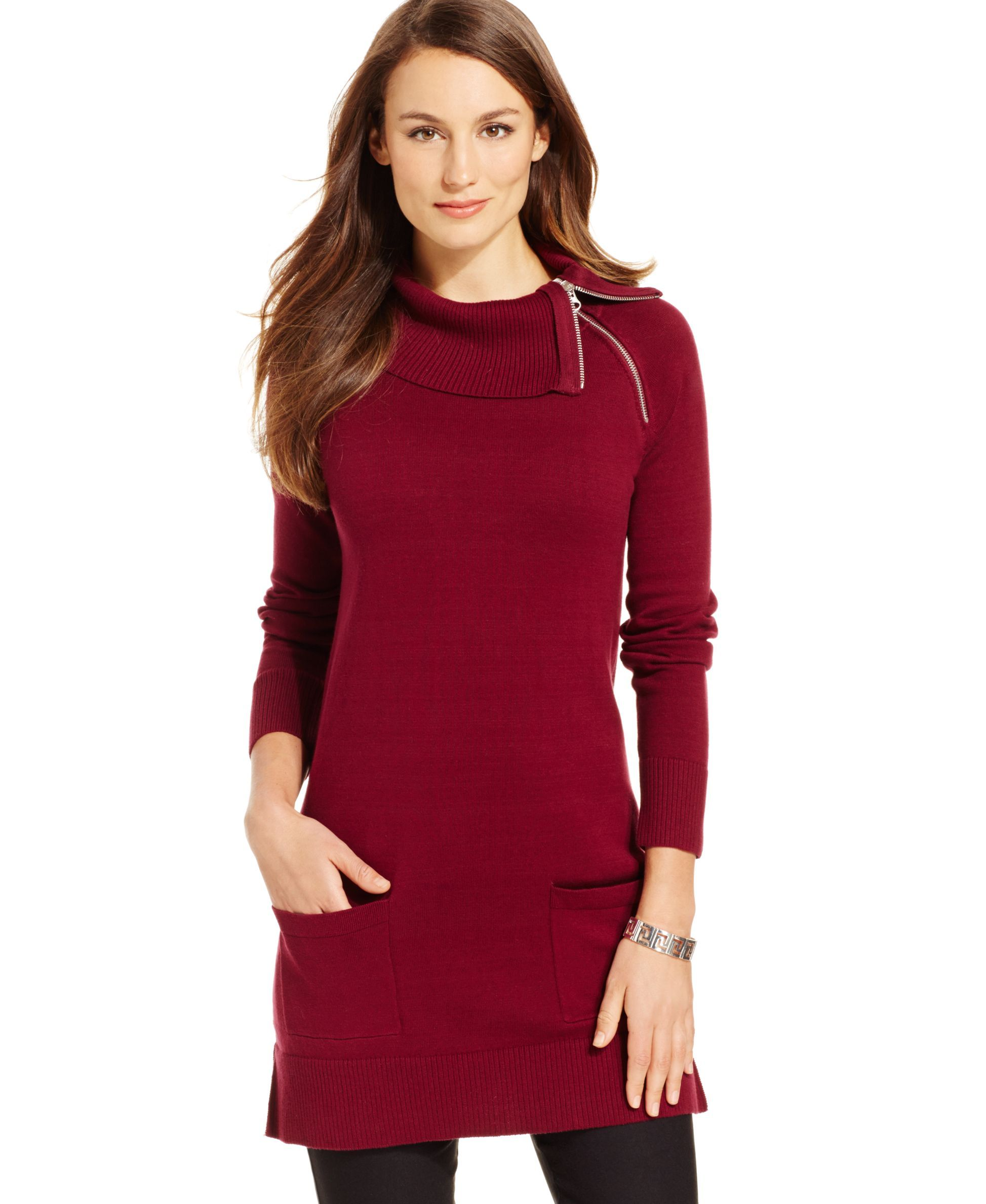 Jeanne Pierre Zipper-Trim Tunic Sweater | Cute outfits | Pinterest ...