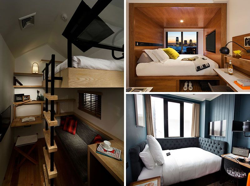 8 Small Hotel Rooms That Maximize Their Tiny Space Small Hotel Room Small Room Layouts Small Room Interior