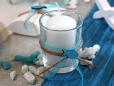 Photo of Table decoration communion confirmation petrol blue gray white fish SET 20 people ISAAK
