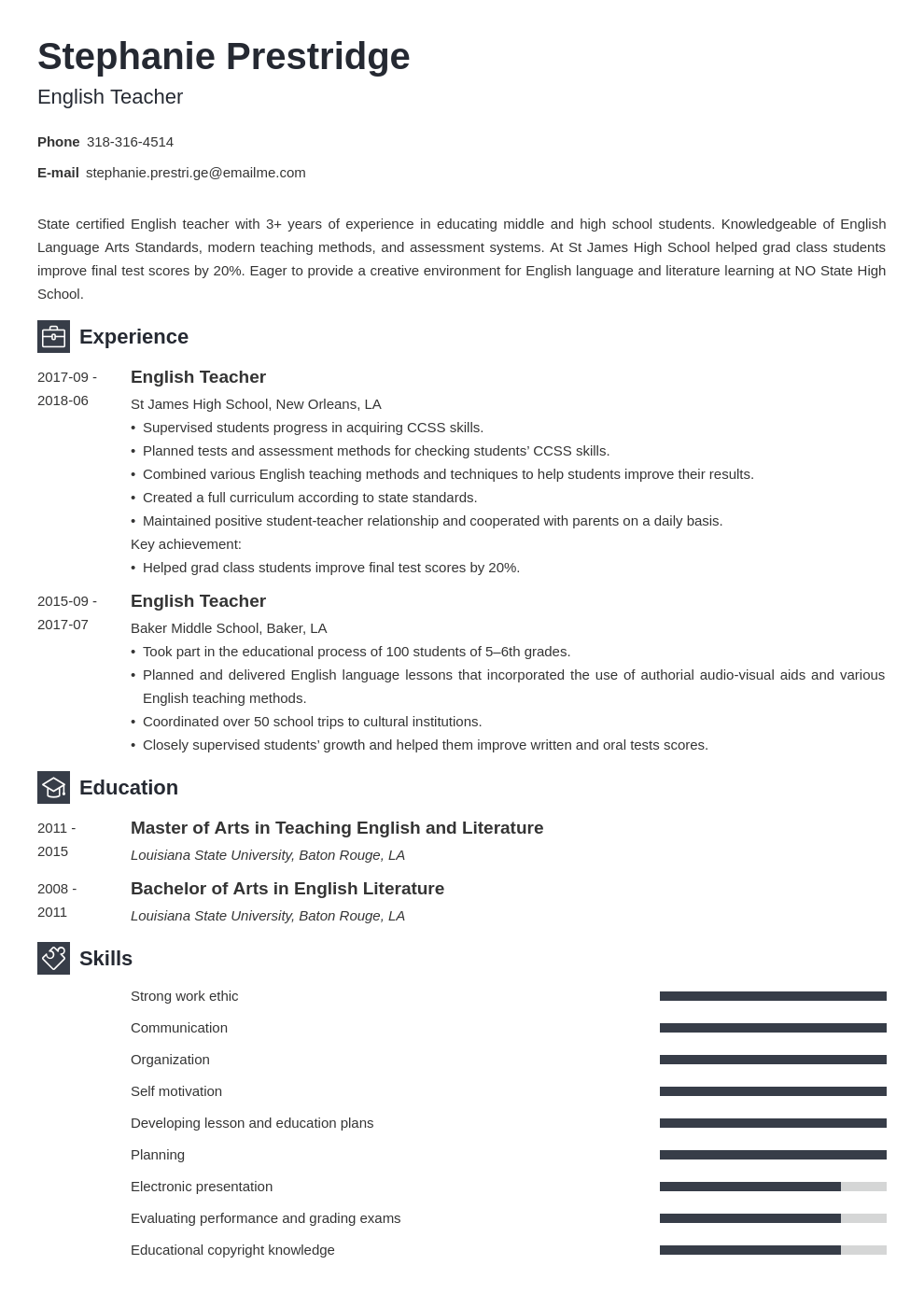 english teacher resume example template newcast in 2020