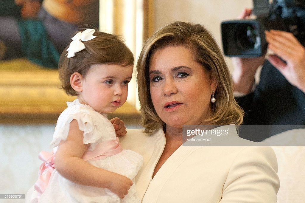 Grand Duchess Maria Teresa of Luxembourg and Princess Amalia Gabriela Maria Teresa during a meeting with Pope Francis at his private library in the Apostolic Palace on March 21, 2016 in Vatican City, Vatican. During the audience the Royal Family of Luxembourg gave the Holy Father a family portrait, with the Spanish-language dedication, 'To our Pope Francis, with the respectful and filial affection our whole family.' Pope Francis gave the family a medal of the pontificate and copies of his…