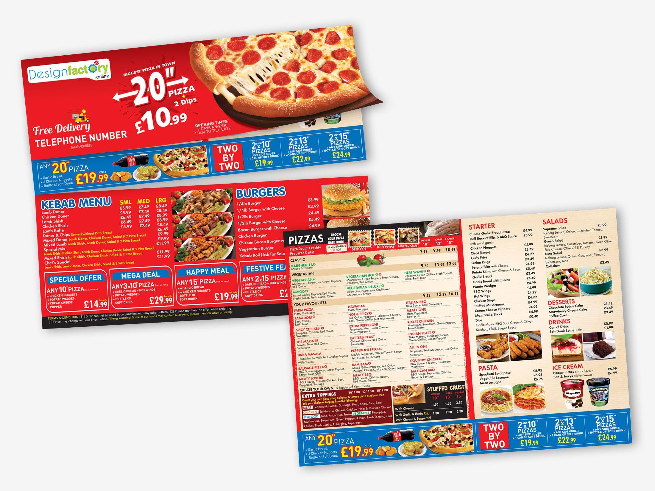 Pukka Pizza Leaflet Pizza Menu Factory Design Menu