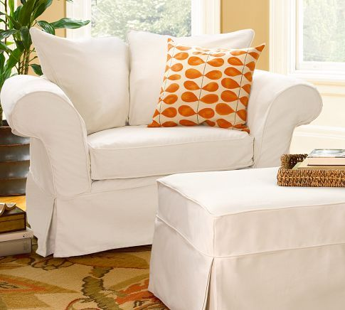 White slipcovers with a pop of color
