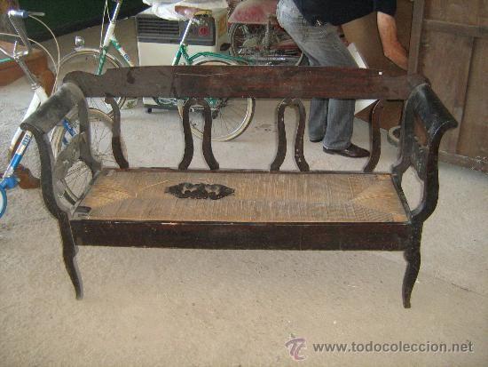 Sof banco de tres plazas en madera y enea medida 148 - Sofas antiguos de madera ...