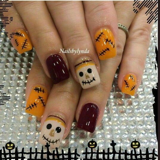 Scarecrow Fall Nails. So cute | Fall acrylic nails ...