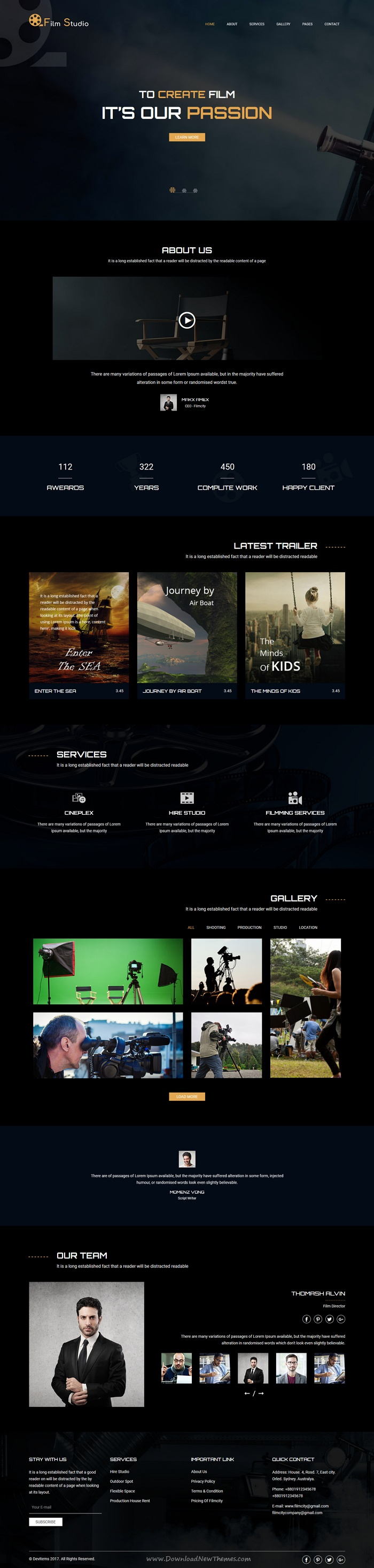 Film studio movie production film studio creative film studio is clean and modern design responsive html theme for film campaign and movie marketing website download now maxwellsz