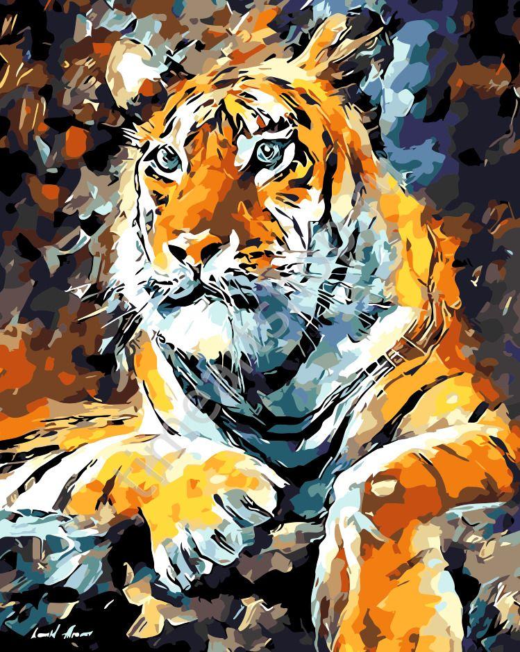 Отдыхающий тигр Набор для творчества: картина раскраска по ...