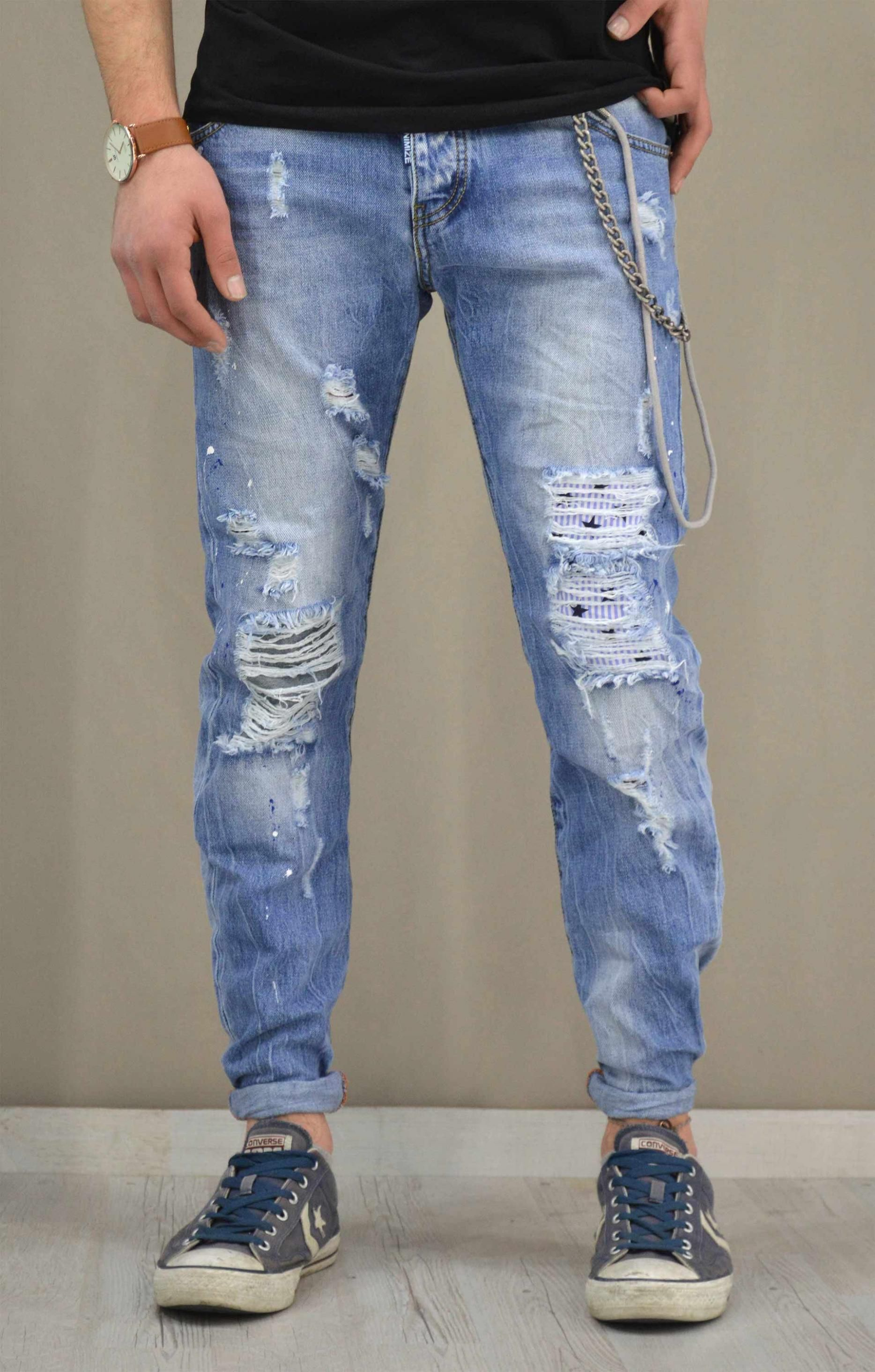 36f7c973b384 Ανδρικό παντελόνι denim ξεβαμμένο