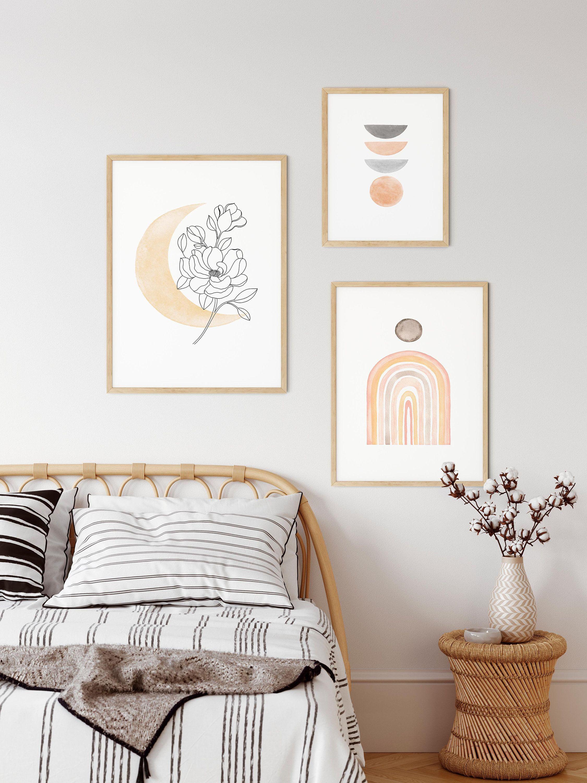 Boho Living Room Decor Bohemian Wall Decor Boho Moon Decor Boho Abstract Wall Art Printable Blush Wall Art Set Of 3 Geometric Prints