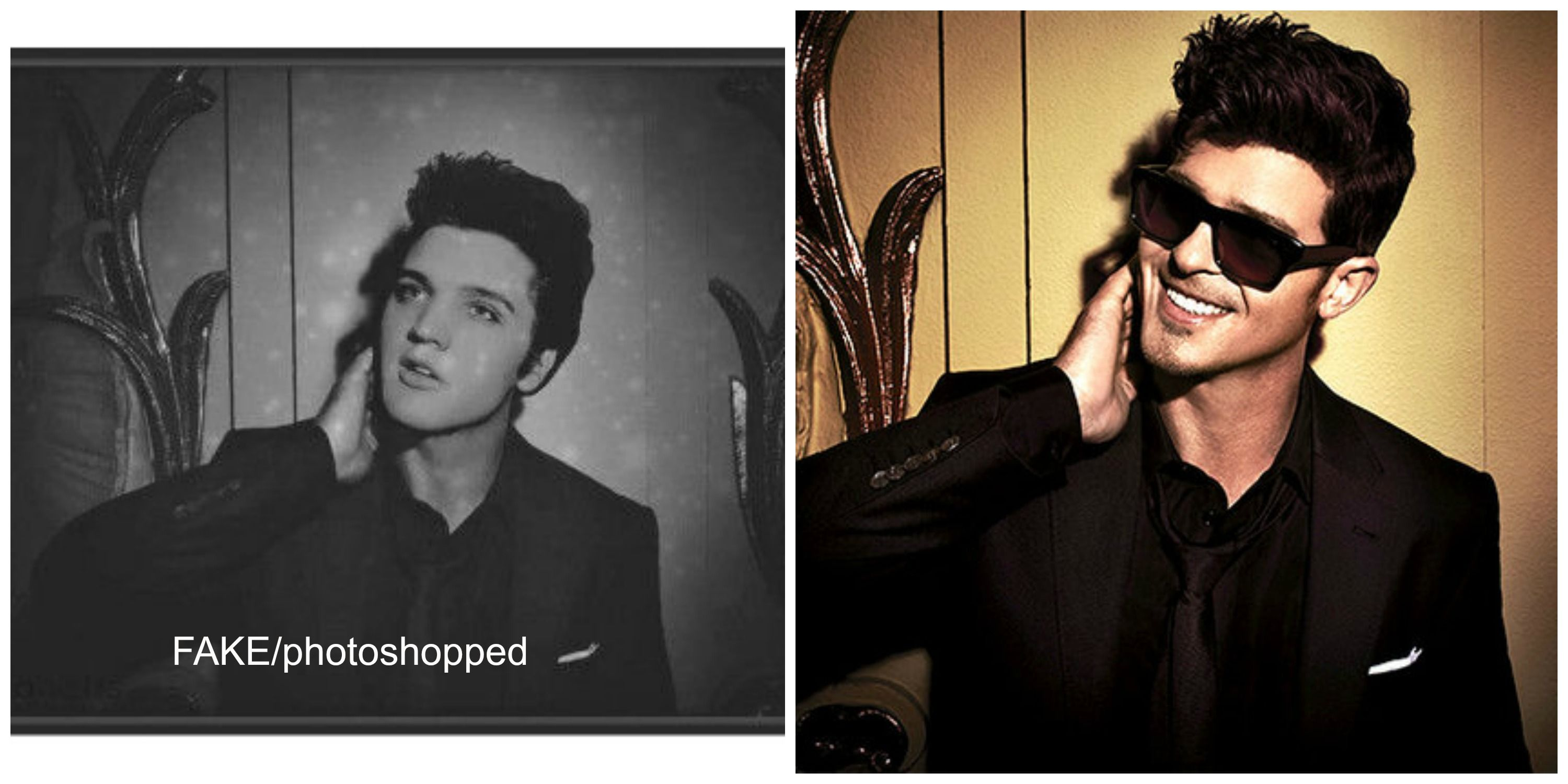 BW photo shown left is FAKE! Elvis' head has been