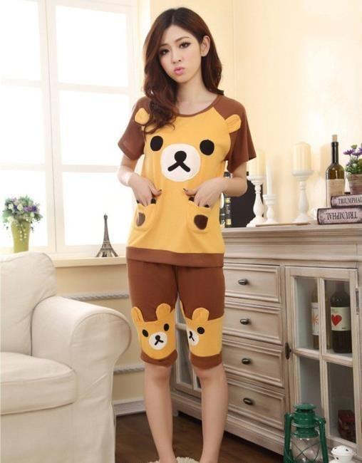 11fbd82d56 Summer Sleepwear Women Pajamas Sets Cute Cartoon Knitted Cotton ...