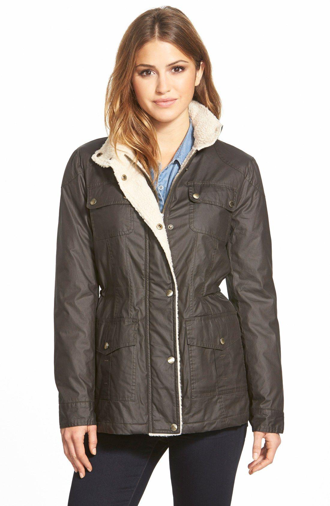 Michael Michael Kors Faux Shearling Trim Waxed Cotton Jacket Regular Petite Nordstrom Waxed Cotton Jacket Women Outerwear Jacket Jackets [ 1687 x 1100 Pixel ]