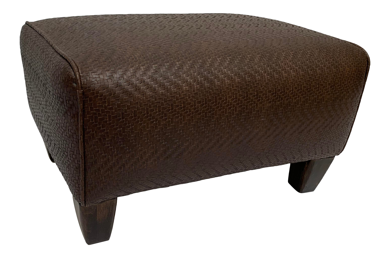 1990s Vintage Brown Faux Weave Faux Leather Ottoman Faux Leather