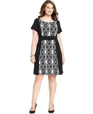 AGB Plus Size Short-Sleeve Geo-Print Colorblocked Dress - Plus Size Dresses - Plus Sizes - Macy's