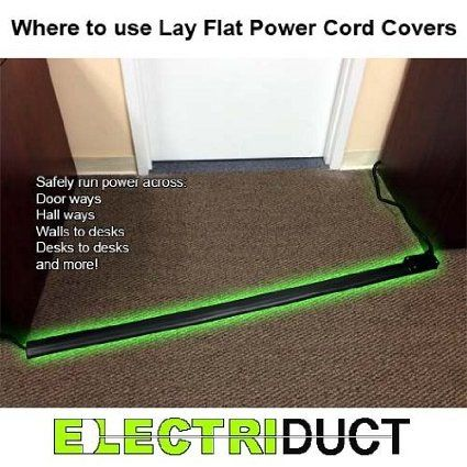 Flat Electrical Power Extension Cord Cover Length 10ft Color Black Under Carpet Extension Cord Amazon Com Cord Cover Extension Cord Cord
