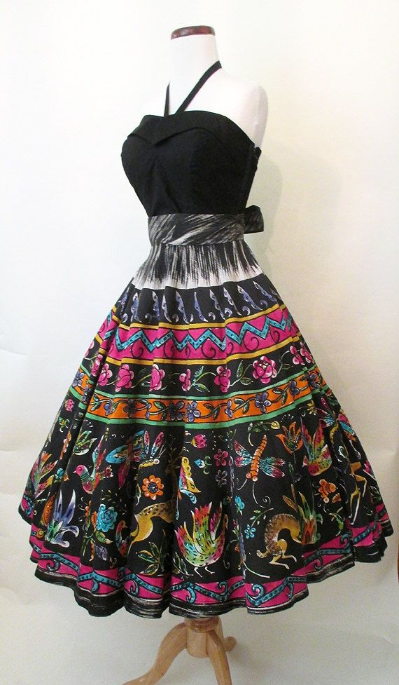 e59fa9571ccd1 Best Ever 1950's Hand Painted Mexican Circle Skirt with Sequins ...