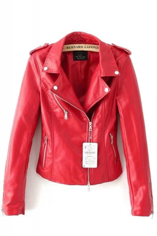 Red Lapel Long Sleeve PU Leather Biker Jacket