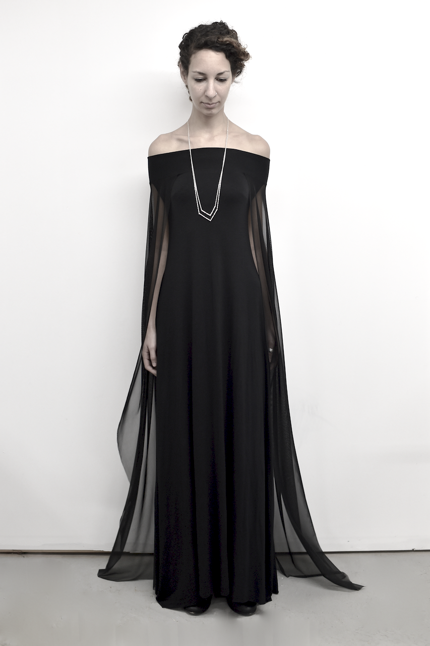 04daa4b4252c Image of Off-Shoulder Cape Gown in Black | I Think Yes | Fashion ...