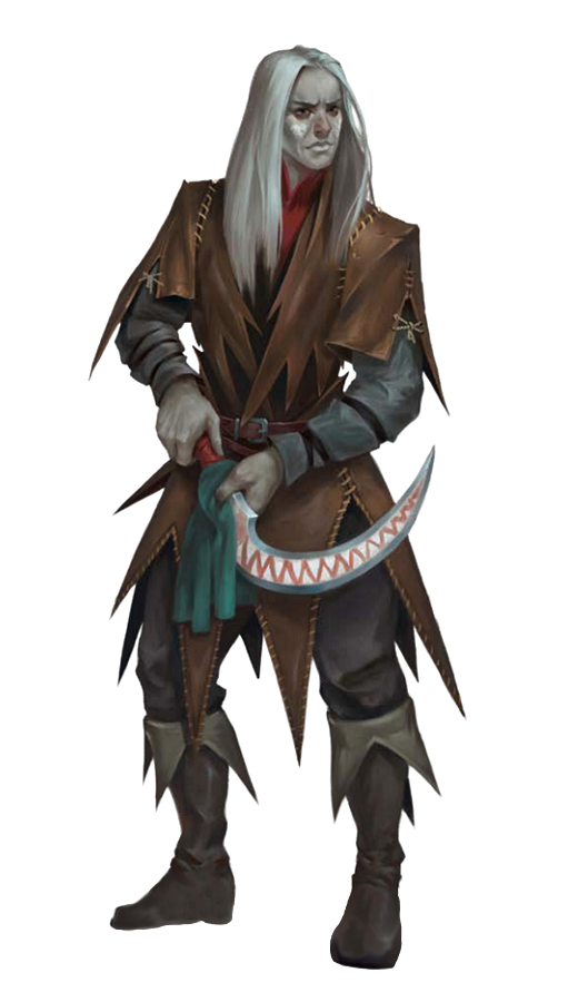 male fetchling or pale skin human - bard or rogue serial killer - mr smiles