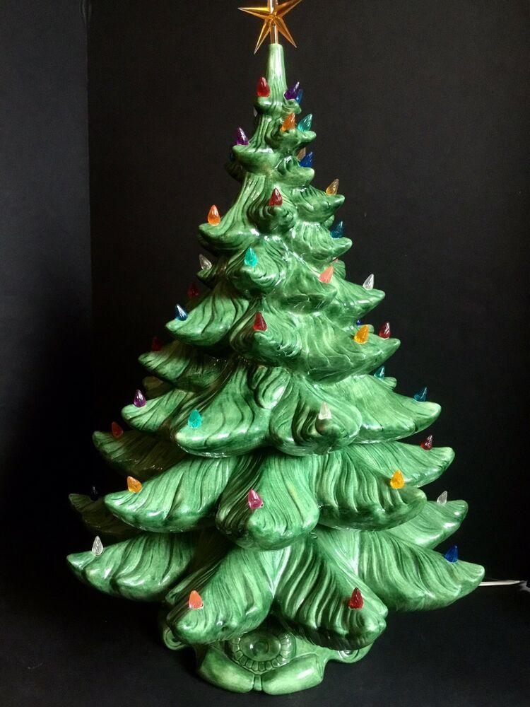 4 Piece Artificial Tree By Atlantic Mold With Wind Up Music Box In Base Christmas Tree Music Box Ceramic Christmas Tree Lights Vintage Ceramic Christmas Tree