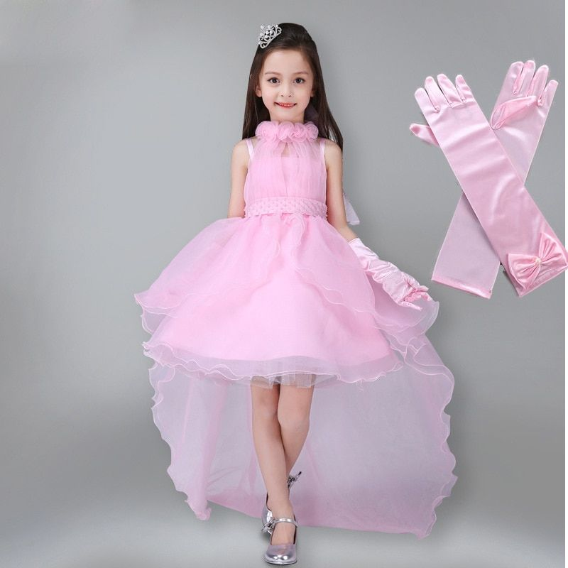 b1a0d83c3937 Girls Long Tail Party Gown Dress with Gloves