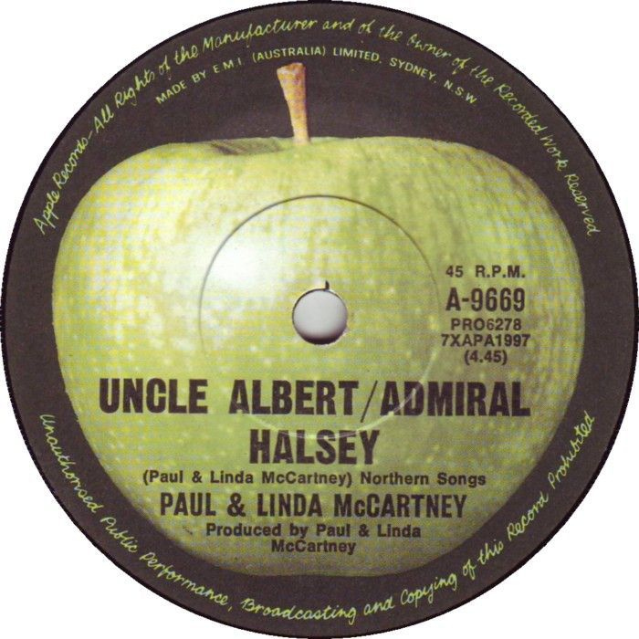 "September 4, 1971 - Taken from the album 'Ram', Paul & Linda McCartney went to No.1 on the US singles chart with 'Uncle Albert / Admiral Halsey'. McCartney's first US solo No.1. Paul explained that ""Uncle Albert"" was based on his real-life uncle. ""He's someone I recall fondly and when the song was coming, it was like a nostalgia thing... As for Admiral Halsey, he's one of yours, an American admiral"", referring to Admiral William ""Bull"" Halsey. •• #paulmccartney #thisdayinmusic #1970s"