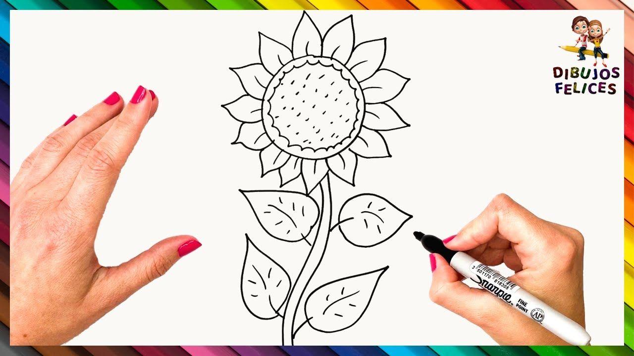Como Dibujar Un Girasol Paso A Paso Girasol Dibujo Girasoles Dibujo Plantillas Para Dibujar Como Dibujar