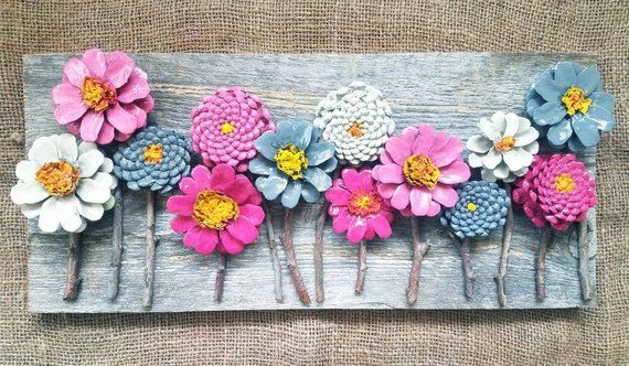 Hand Crafted Pinecone Flowers On Barn Wood Pine Cone Crafts Barn Wood Crafts Pine Cone Art