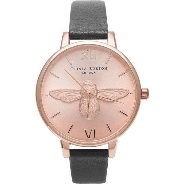 Olivia Burton 'Molded Bee' Leather Strap Watch, 38mm ($215) ❤ liked on Polyvore featuring jewelry, watches, bee jewelry, fancy jewelry, polish jewelry, quartz movement watches and bumble bee jewelry