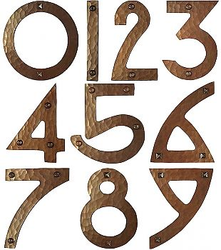 Your Choice Of Pyramid Head Nails Or Round Head Screws In The Photo Nails Are Shown On The 0 6 8 And 9 Copper House House Numbers Handmade