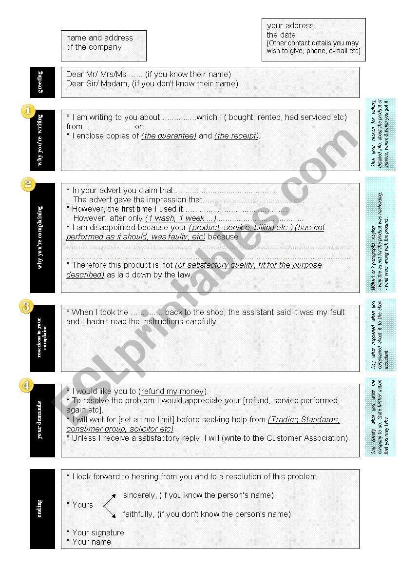 How to write a letter of complaint ESL worksheet by